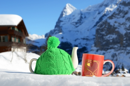 Tea pot in the knitted cap and red cup with a heart in the snow  Stock Photo - 16256430