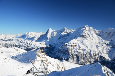 snow covered mountain: Eiger, Moench and Jungfrau, famous Swiss mountain peaks