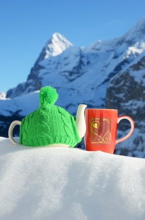 Tea pot in the cap and a cup against alpine scenery Stock Photo - 16829662