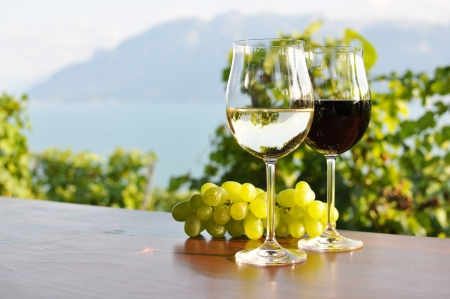 Two wineglasses and grapes against Geneva lake. Lavaux region, Switzerland photo