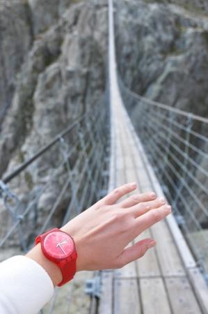 rope bridge: Trift Bridge, the longest 170m pedestrian-only suspension bridge in the Alps. Switzerland