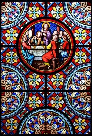 Nativity Scene Glasfenster in der Kathedrale von Basel, Schweiz