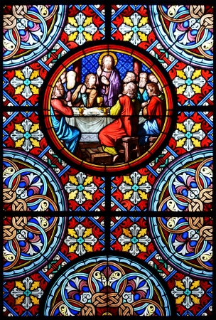 catholic stained glass: Nativity Scene  Stained glass window in the Cathedral of Basel, Switzerland  Editorial