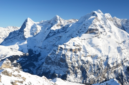 eiger: Eiger, Moench and Jungfrau, famous Swiss mountain peaks