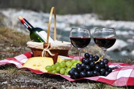 vinos y quesos: El vino tinto, queso y uvas servido en un picnic Verzasca valley, Suiza