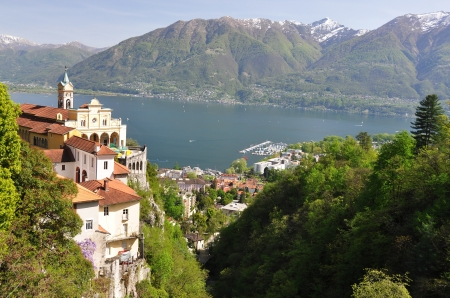 maggiore: Madonna del Sasso, medieval monastery on the rock overlook lake Maggiore, Switzerland  Stock Photo