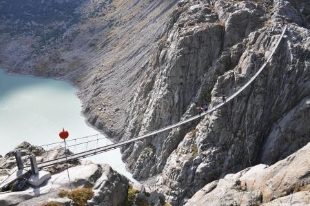rope bridge: Trift Bridge, the longest 170m pedestrian-only suspension bridge in the Alps  Switzerland