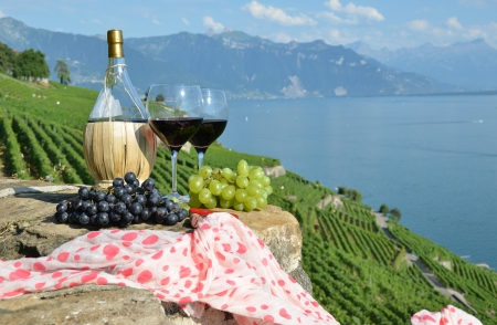 Red wine and grapes on the terrace of vineyard in Lavaux region, Switzerland photo