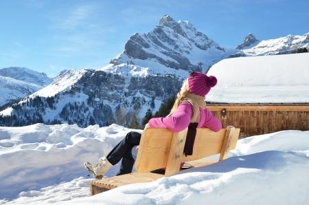 Traveler against Alpine apnorama  Switzerland photo