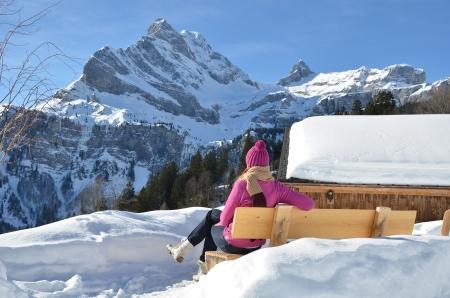 hobby hut: Traveler enjoying Alpine panorama  Switzerland