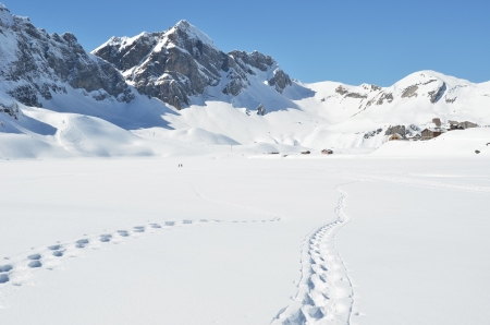 Footsteps on the snow  Melchsee-Frutt, Switzerland photo