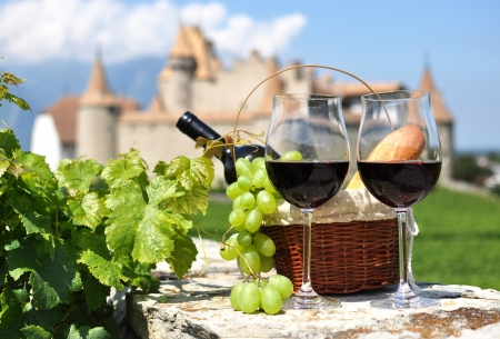 Wine and grapes Stockfoto