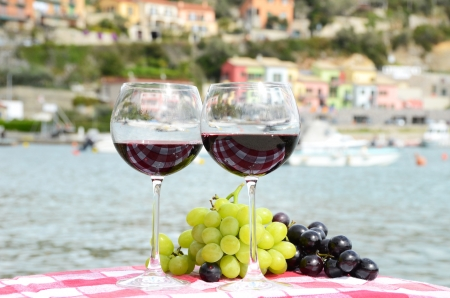 Pair of wineglasses and grapes against the harbour of Portvenere, Italy photo