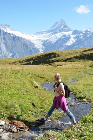 Trekking in the Swiss Alps Stock Photo - 18602220
