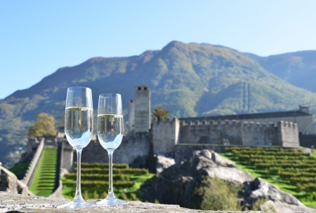 sektglas: Pair of champagne Gl?ser und Trauben Bellinzona, Schweiz
