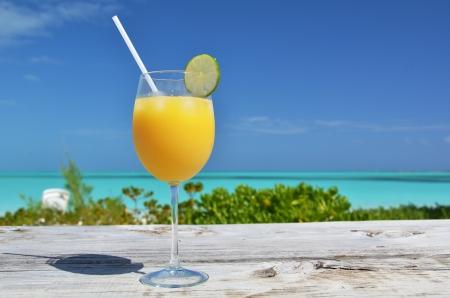caribbean food: Glass of orange juice. Exuma, Bahamas Stock Photo