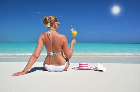 summer vacation bikini: Beach scene. Exuma, Bahamas Stock Photo