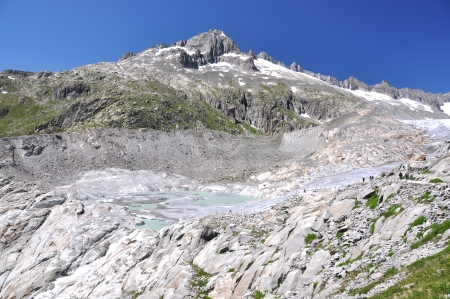 rhone: Melting Rhone glacier, Switzerland. View from Furka Pass Stock Photo