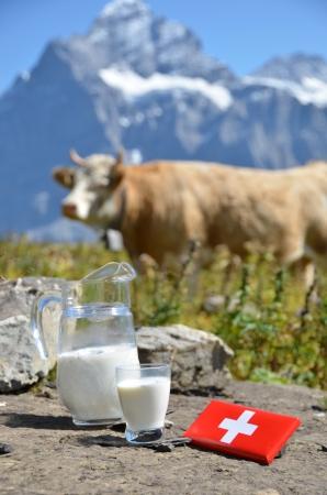 Swiss chocolate and jug of milk on the Alpine meadow. Switzerland photo