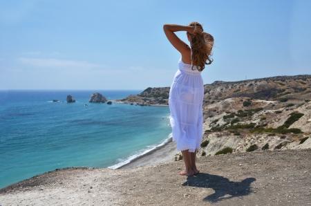 afrodite: Ragazza al luogo di nascita Afrodite, Cipro Archivio Fotografico