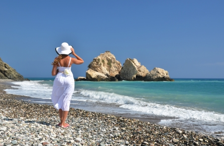 Girl at the beach near Aphrodite birthplace, Cyprus photo