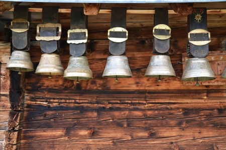 balk: Traditional Swiss cowbells Stock Photo