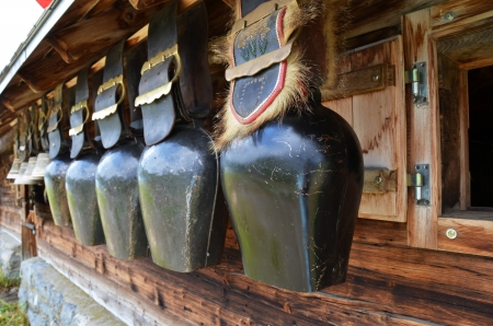 Traditional Swiss cowbells photo