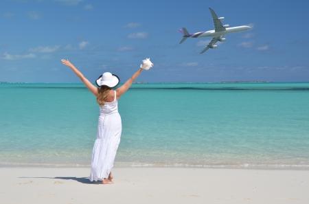 Girl on the beach of Exuma, Bahamas photo