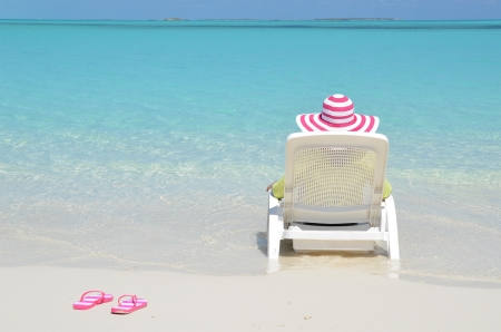 sandals: Beach scene, Great Exuma, Bahamas Stock Photo