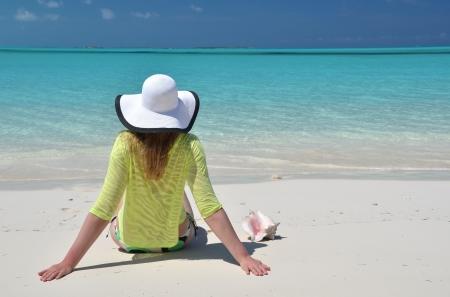lady's: Beach scene, Great Exuma, Bahamas Stock Photo