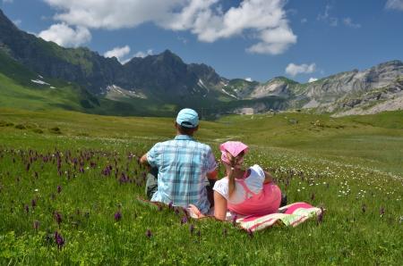 Alpine meadow. Melchsee-Frutt, Switzerland  photo