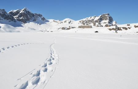 Footsteps on the snow. Melchsee-Frutt, Switzerland  photo