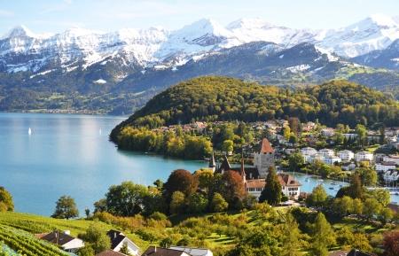 Spiez Castle, Switzerland Stock Photo