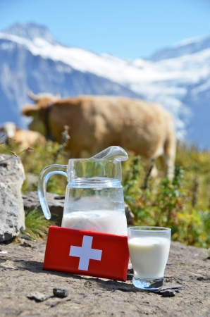 chocolate peak: Swiss chocolate and jug of milk on the Alpine meadow. Switzerland  Stock Photo