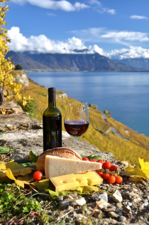 chees: Red wine, chees, bread and cherry tomatos  Lavaux, Switzerland Stock Photo