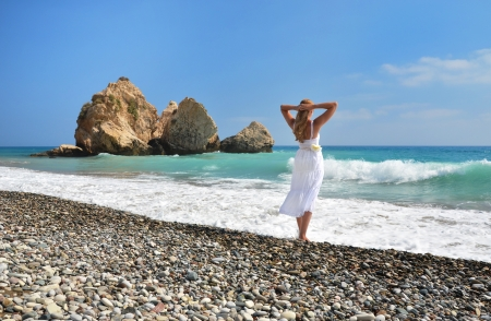 aphrodite: Girl looking to the sea near Aphrodite birthplace, Cyprus