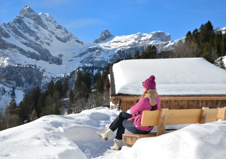 hobby hut: Girl with a camera in Swiss Alps