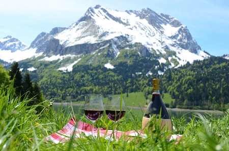 onion valley: Wine and vegetables served at a picnic in Alpine meadow. Switzerland  Stock Photo
