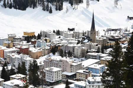 world village: Winter view of Davos, famous Swiss skiing resort  Editorial