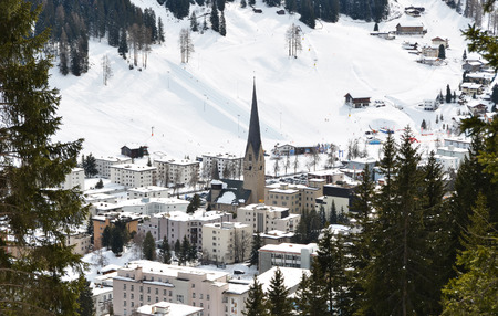 Winter view of Davos, famous Swiss skiing resort  Stock Photo