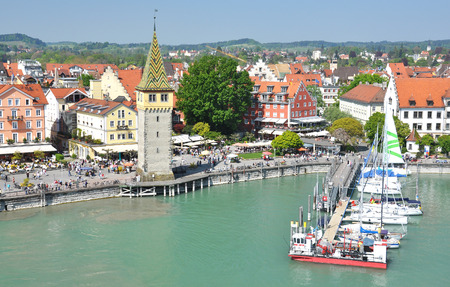 windy city: Port of Lindau island, Germany