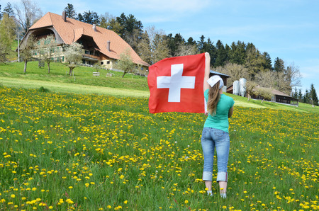 emmental: Girl with the Swiss flag. Emmental, Switzerland