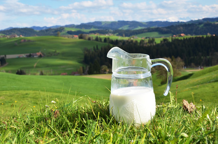 milk jug: Jug of milk. Emmental region, Switzerland  Stock Photo