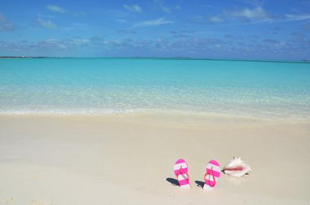 flap: Sea shell and flip-flops on the sandy beach