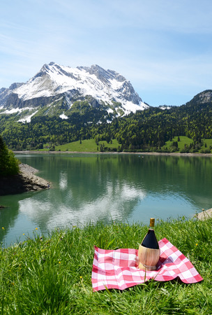 onion valley: Picnic in Alpine meadow. Switzerland Stock Photo