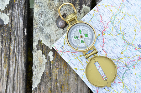 Compass and map photo