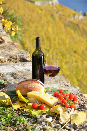 Red wine, cheese, bread and cherry tomatoes. Lavaux, Switzerland  photo