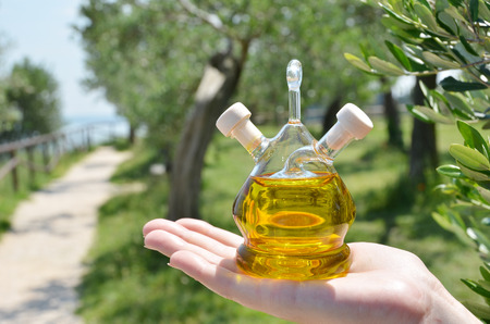 Bottle of olive oil. Sirmione, Italy photo