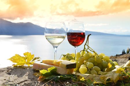 Wine and grapes. Lavaux, Switzerland Stock Photo