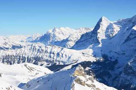 スイスのシルトホルンの頂上からの眺め 写真素材